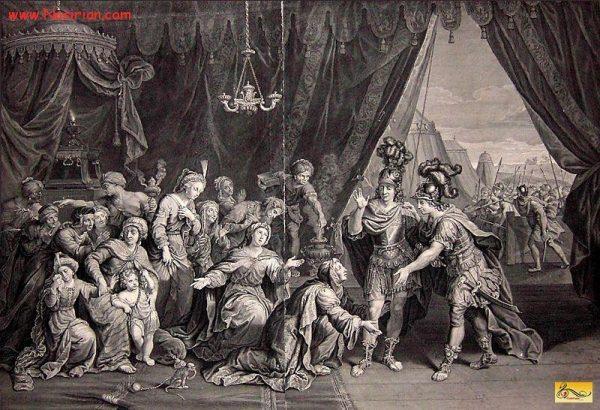 تصویری نقاشی شده از به اسارت افتادن خانوادهٔ داریوش سوم، توسط اسکندر در جنگ ایسوس.