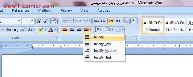 تنظیمات راست چین و چپ چین و Justify کردن در word